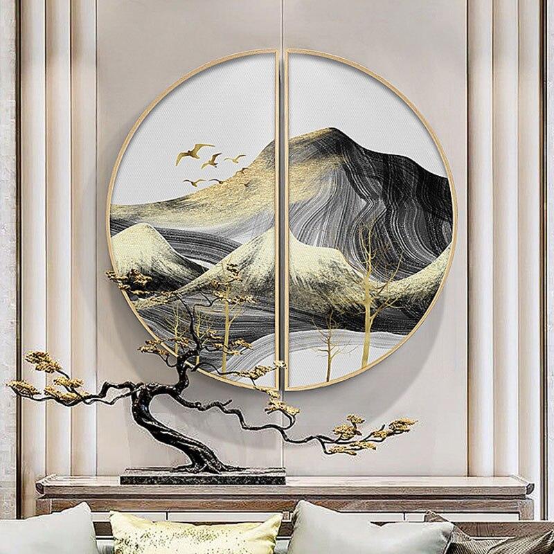 Современная декоративная фоторамка для крыльца полукруглая твердая деревянная рамка для картин свет роскошный абстрактный пейзаж декорат