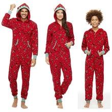 Семейные рождественские пижамы; одинаковый комбинезон для мамы и дочки; для женщин и детей; Новинка; Рождественская одежда для сна красного цвета; подарок на год