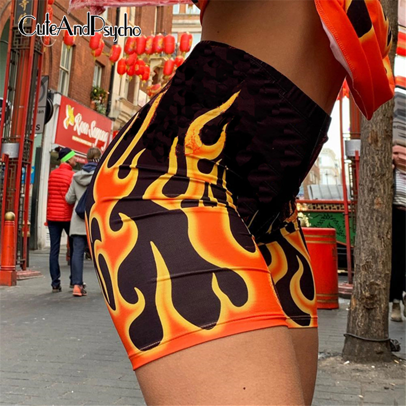 Fashion Flame Printed Shorts Women Skinny Fire High Waist Shorts Femme  Elastic Waist Streetwear Cotton 2019 Short Cuteandpsycho