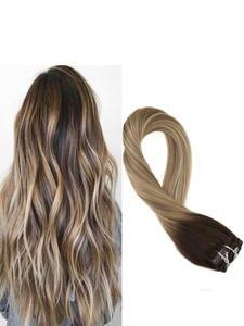 Moresoo Hair-Extensions Human-Hair Clip-In Straight 16-24inch 100G Machine Full-Head-Set