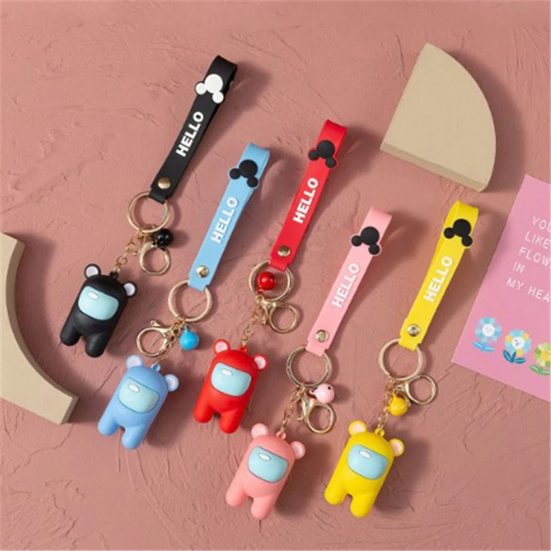 2021 New Anime Among Us Game Figure toy Cartoon Keychain Car Keys Decoration Accessories lovely Pendant Christmas Gift