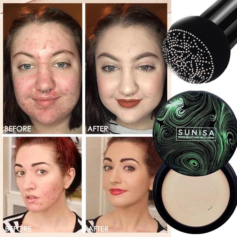 SUNISA, новинка, Грибная головка, макияж, воздушная подушка, УВЛАЖНЯЮЩАЯ основа, пропускающая воздух, натуральный Осветляющий макияж, BB крем