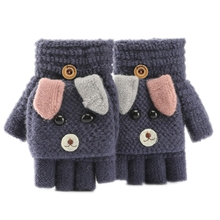 Kids Winter Warm Convertible Flip Top Gloves Cartoon Dog Knitted Plush Mittens F42F