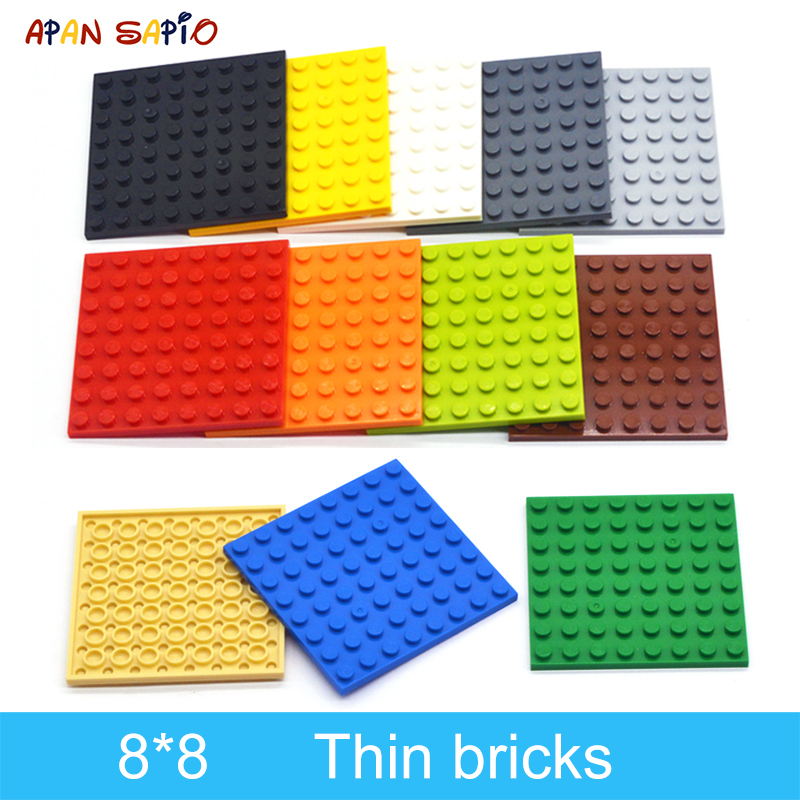 10pcs DIY Building Blocks Thin Figures Bricks 8x8 Dots 12Color Educational Creative Size Compatible With Lego Toys For Children