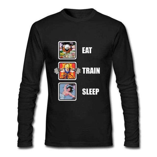 Лидер продаж, программист, Dragon Ball Eat Train Sleep Goku Repeat, 3d футболка с длинным рукавом и круглым вырезом, забавные зимние футболки для взрослых, футболка