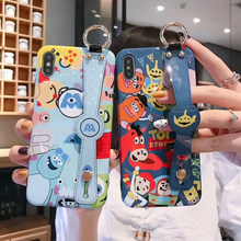Hot Wrist stand lanyard Mr.Q Toy Story soft silicon cover case for iphone 6 S 7 6S 7plus 8 8plus X XR XS Mike James phone coque(China)