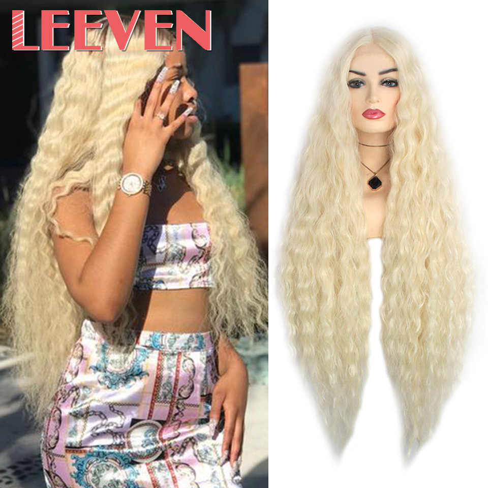 Leeven Curly Synthetic Hair Wig Black 613 Blonde Lace Front Wig Brown Burgendy For Woman Afro Long Cosplay Hair Wigs