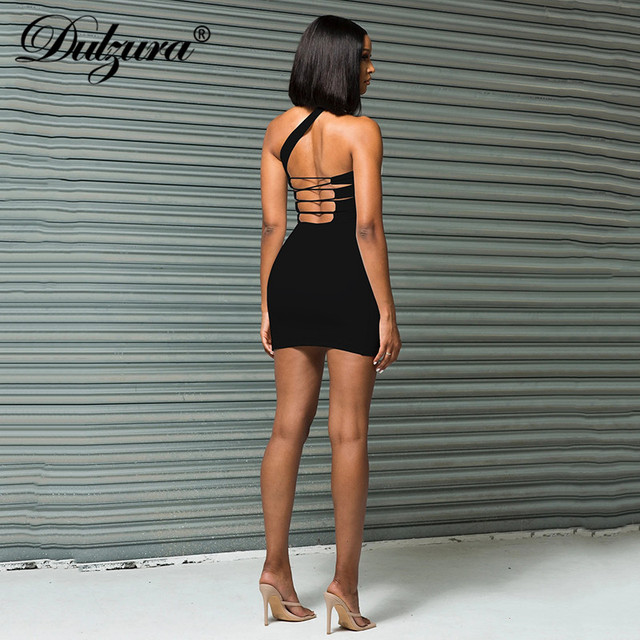 Dulzura Lace Up Bandage Cross Women Slit Mini Dress One Shoulder Sleeveless Bodycon Backless Sexy Streetwear Party Elegant Club 5