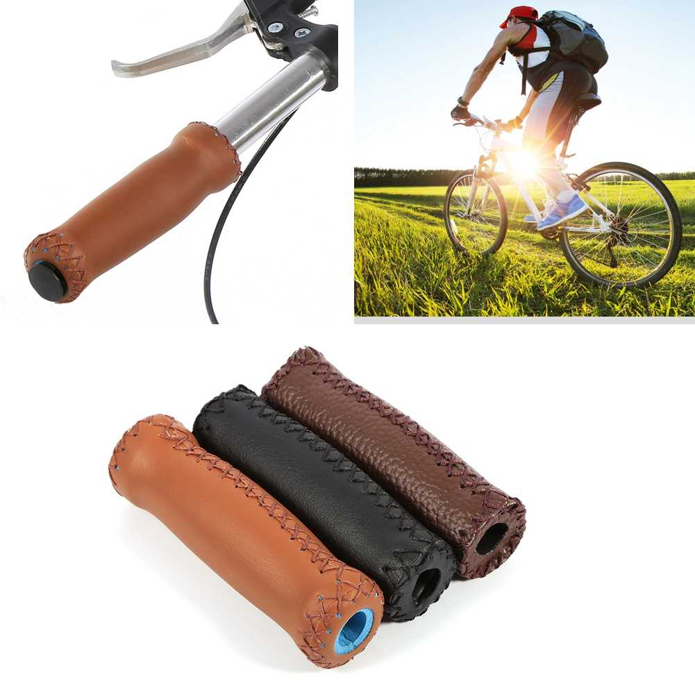 1 Paar Lederen Vintage Fiets Handvatten Retro Bike Fixed Gear Handle Bar Grips