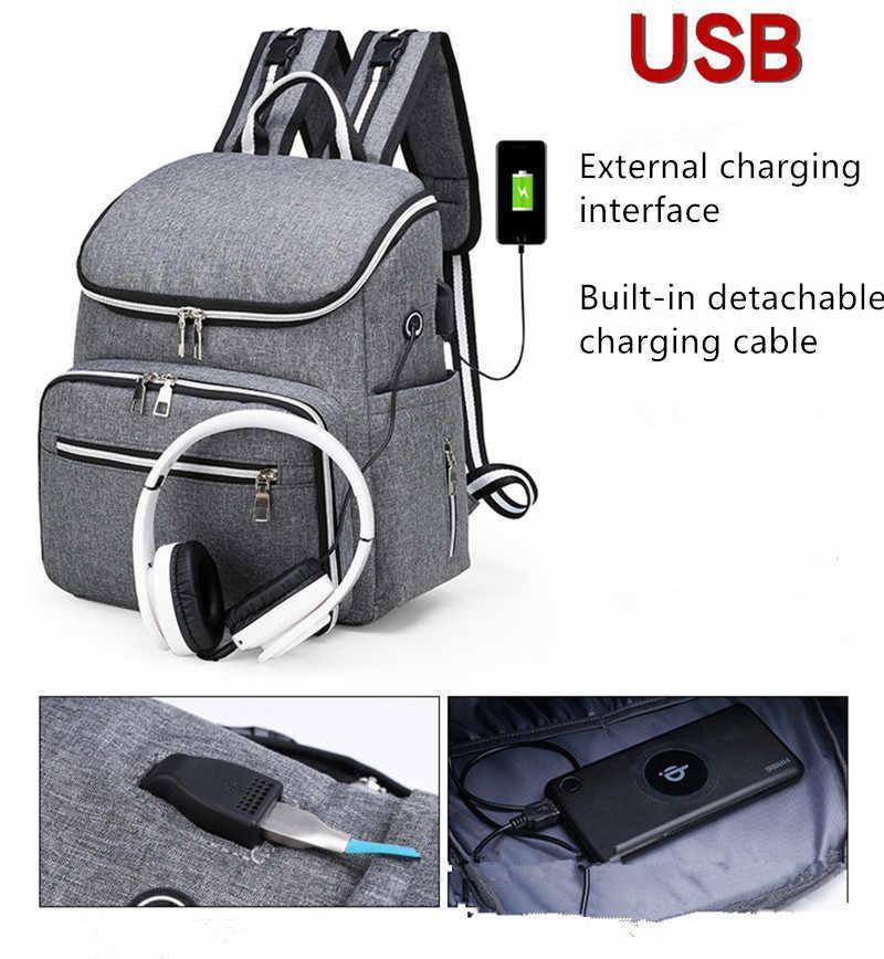 2019 de Enfermagem da Maternidade Múmia Mochila de Viagem Bolsa Saco de Fraldas Do Bebê com Interface USB de Grande Capacidade À Prova D' Água para Cuidados Com o Bebê