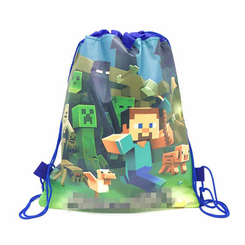 عالية الجودة التعدين بكسل gamethemالرباط أكياس طفل القطن حقيبة سفر تخزين الملابس حقائب أحذية حقيبة محمولة المدرسة