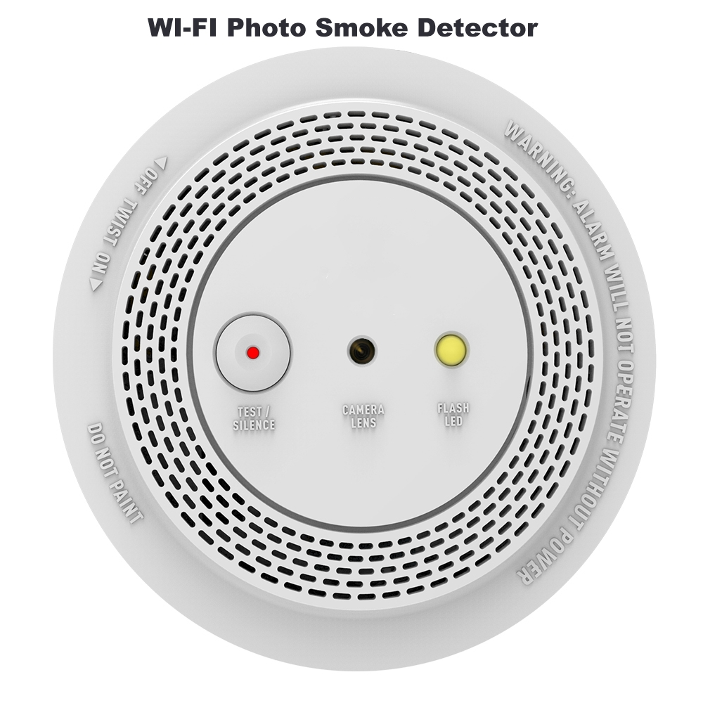 Wireless Smoke Alarm Detector With 1080P Smart WIFI Photo Alarm Camera Remote Voice Announcement & LED Indicator Flashing Alarm