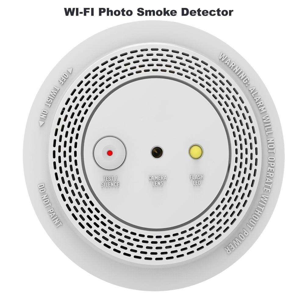 Wireless Smoke Alarm Detector With 1080P Smart WIFI Photo Alarm Camera Remote Voice Announcement & LED Indicator Flashing Alarm