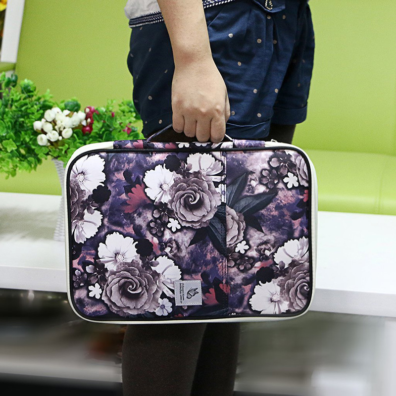 Kawaii File Folder A4 Cute Flower Document Organizer Big Cabinet For Ipad Case Zipper Filling Product Zipper Fichario Holder Kit