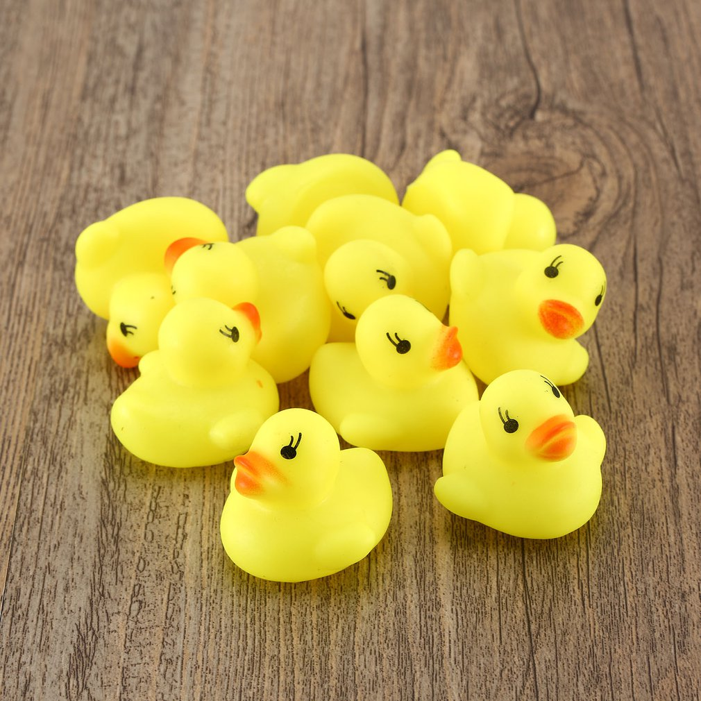 10pcs/lot Mini Baby Kids Squeaky Rubber Ducks Bath Toys Bathe Room Water Fun Game Playing Newborn Boys Girls Toys For Children