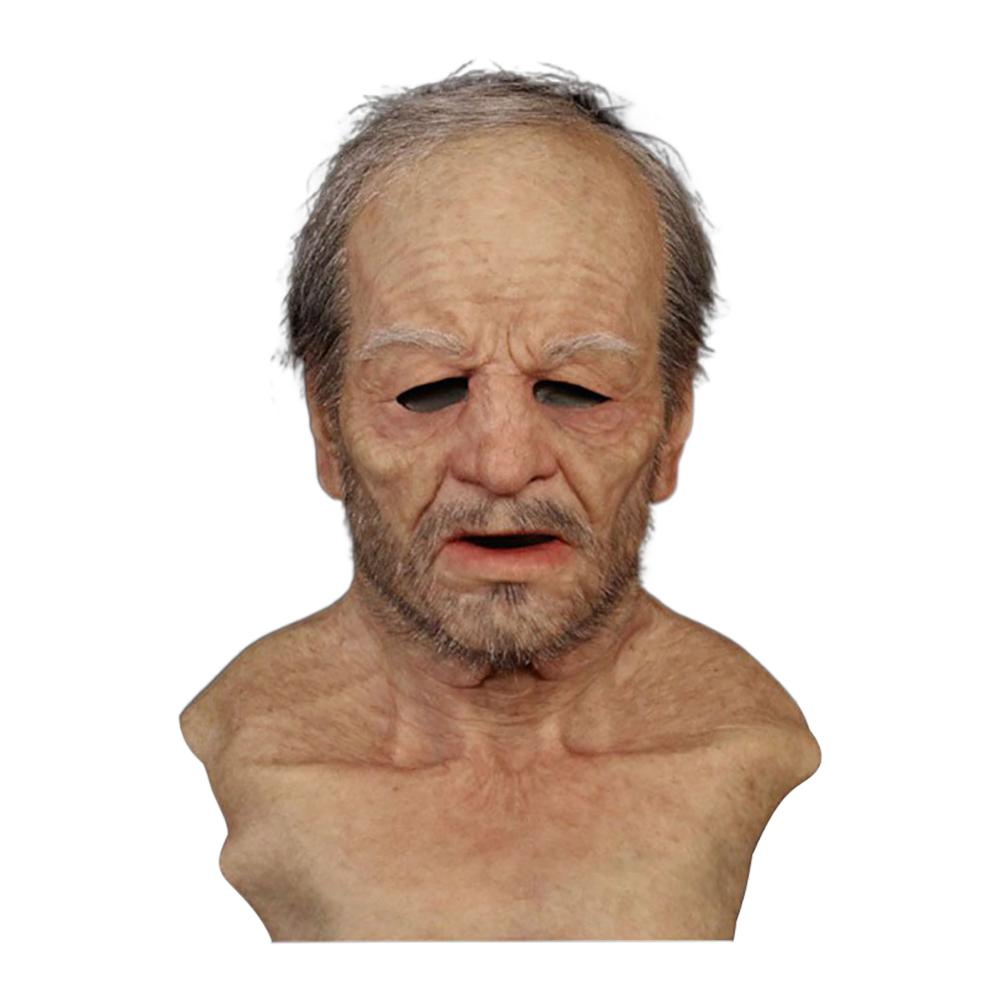1pcs Old Man Scary Mask Cosplay Scary Full Head Latex Mask Halloween Horror Funny Cosplay Party Mask Old Man Head Helmet Masks(China)