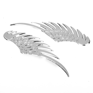 Pair Of 3D Angel Wings Style Car Auto Vehicle Metal Sticker Decals - Silver