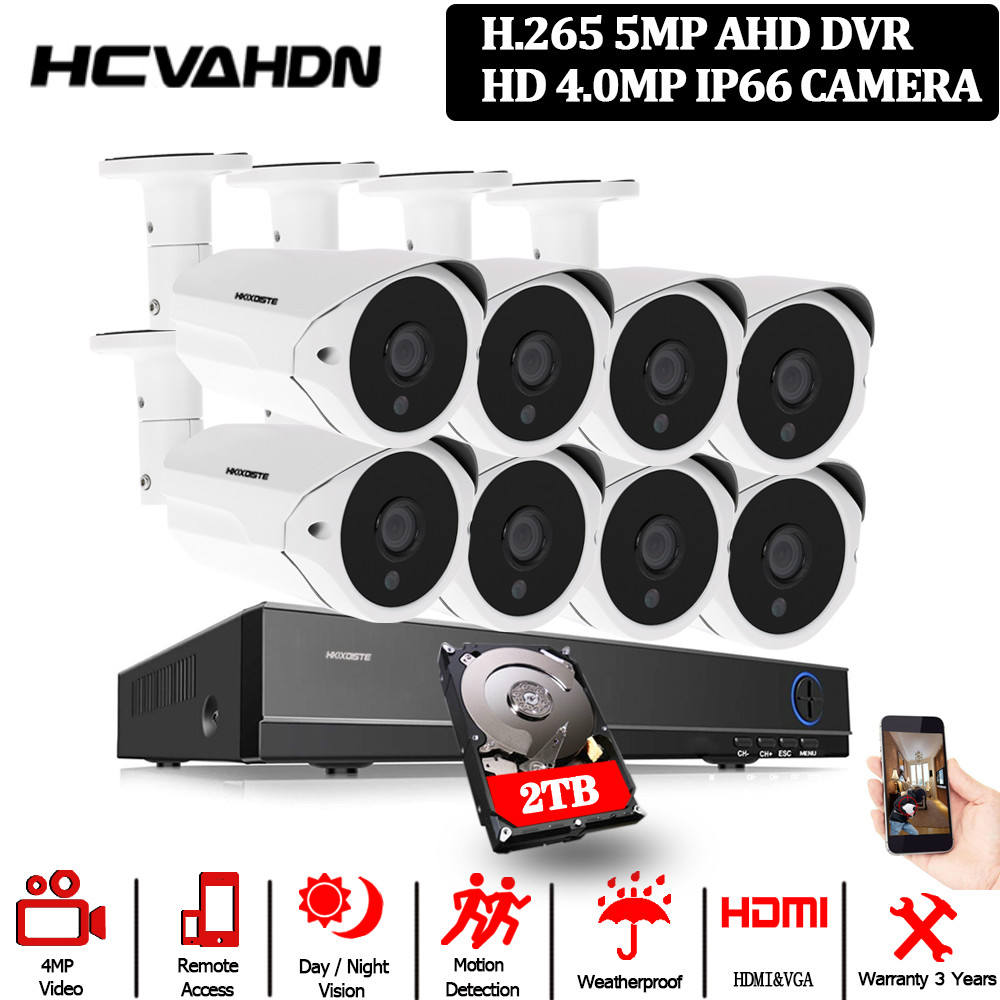 Kit de sistema de seguridad de cámara Cctv para el hogar 8ch Dvr cámaras de vídeo de exterior de vigilancia Ahd Sistema de Monitoreo de cámara impermeable ANRAN AHD CCTV sistema 2MP DVR Sistema de videovigilancia, cámara de seguridad exterior HDD impermeable visión nocturna P2P HDMI