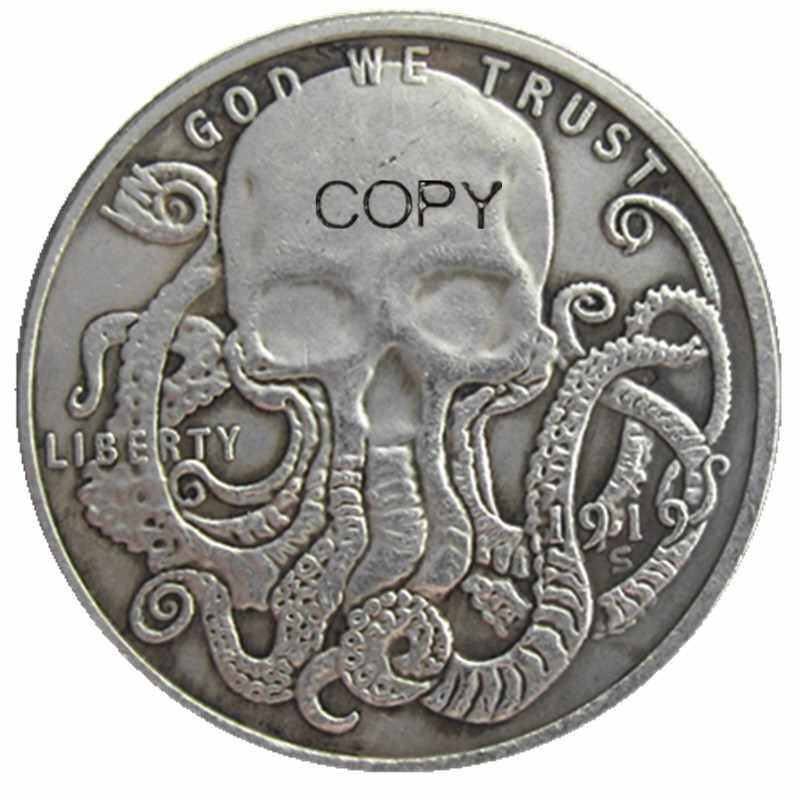 HB (107) Hobo VS Morgan Dollar skull zombie skeleton Verzilverd Kopie Munten