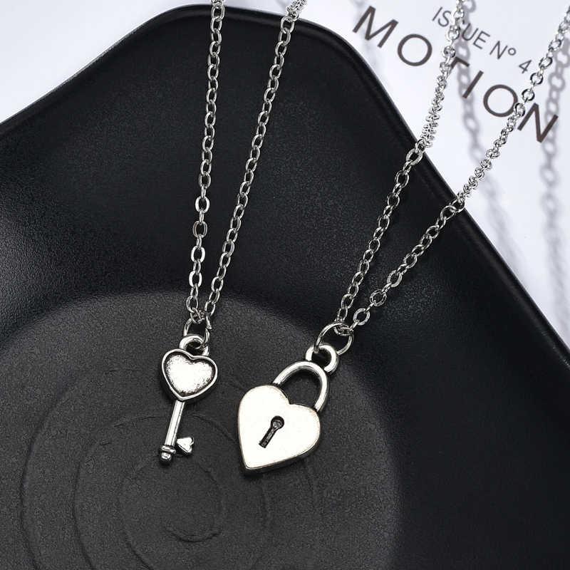 2 Pcs/1 Set Teman Terbaik Kunci Kunci Liontin Kalung Retro Jantung Persahabatan Kalung untuk Wanita Pria Fashion hadiah Natal