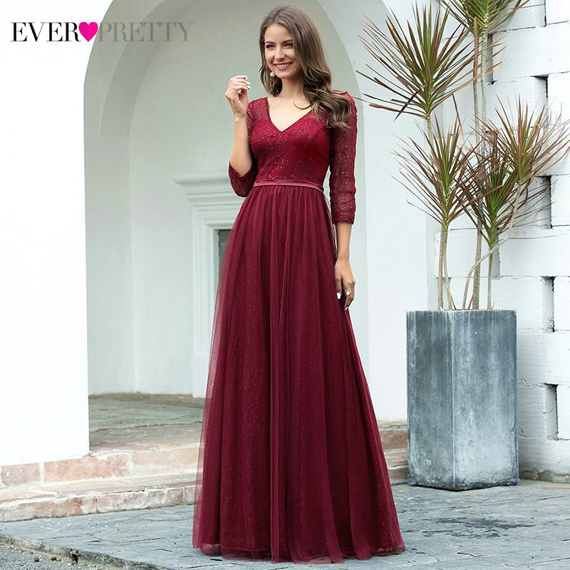 Elegant Prom Dresses Ever Pretty EP00806 A-Line Double V-Neck 3/4 Sleeve Sequined Sparkle Lace Party Gowns Vestidos De Gala 2020