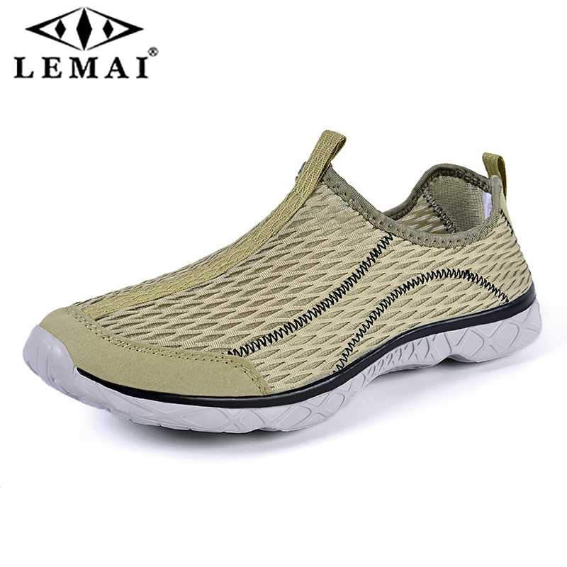 LEMAI Summer Breathable Large Size Sneakers Men's Mesh Water Shoes Brook Shoes