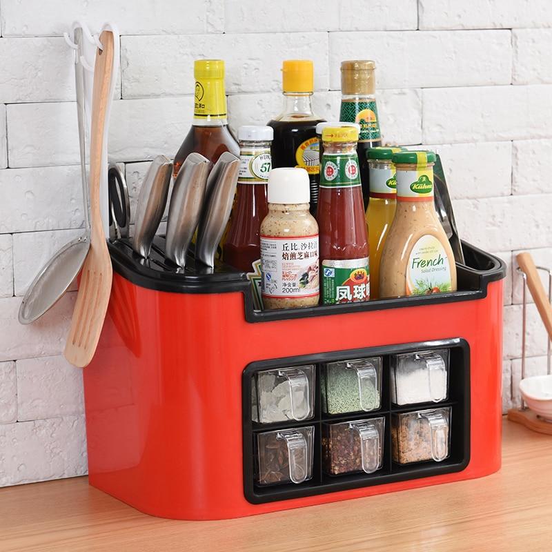 A1 Multi-function Kitchen Rack Seasoning Box Seasoning Jar Storage Rack Chopsticks Storage Combination Tool Holder Lu42017