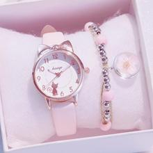 Women Watches Cute Pink New Fashion Ladies Casual Leather Quartz Watch Relogio Feminino Montre Femme Zegarek Damski no Bracelet