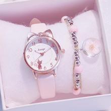 여성 시계 귀여운 핑크 새 패션 숙녀 캐주얼 가죽 쿼츠 시계 relogio feminino montre femme zegarek damski no bracelet