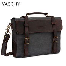 VASCHY Männer Vintage Aktentasche Aus Echtem Leder Leinwand Umhängetasche für Männer Business Schulter Tasche Passt 14 zoll Laptop Handtasche