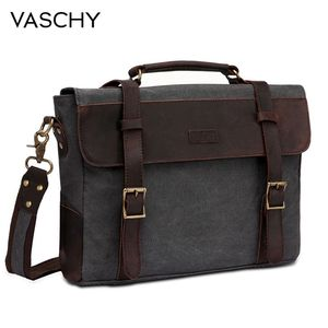 Image 1 - VASCHY Men Vintage Briefcase Genuine Leather Canvas Messenger Bag for Men Business Shoulder Bag Fits 14 inch Laptop Handbag