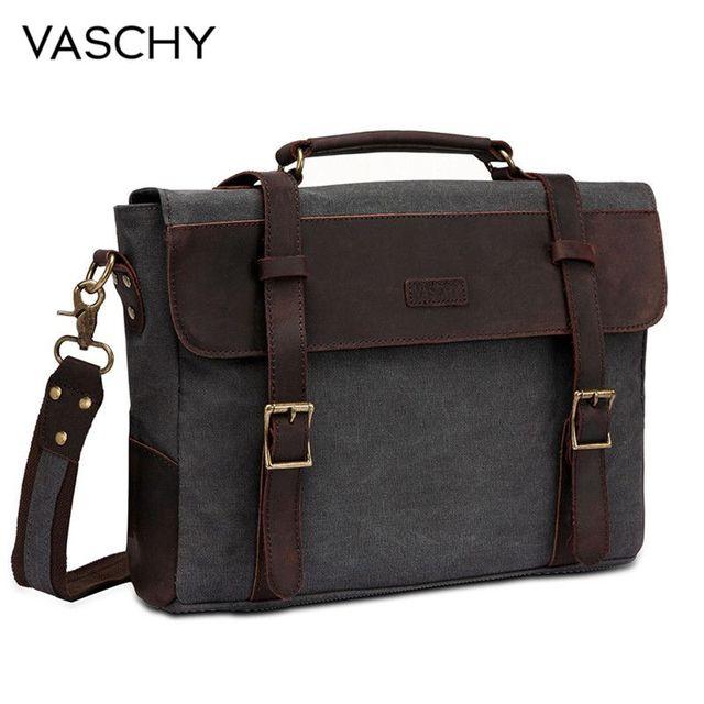 VASCHY Men Vintage Briefcase Genuine Leather Canvas Messenger Bag for Men Business Shoulder Bag Fits 14 inch Laptop Handbag