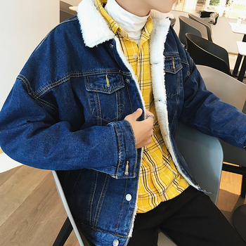 Thicken Denim Jacket Men Warm Parka Men Fashion Lambskin Coat Man Streetwear Loose Winter Jacket Cotton Overcoat Male Clothes