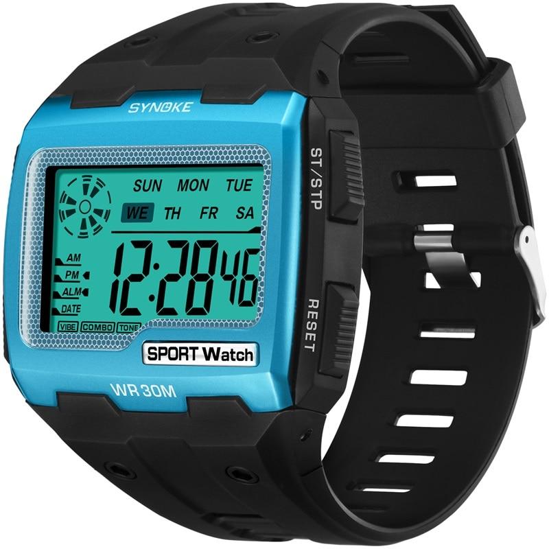 SYNOKE Mens Digital Watches Big Square Dial Alarm Week Shock Resistant  Repeater Chronograph Multifunction Digital Sport Watch