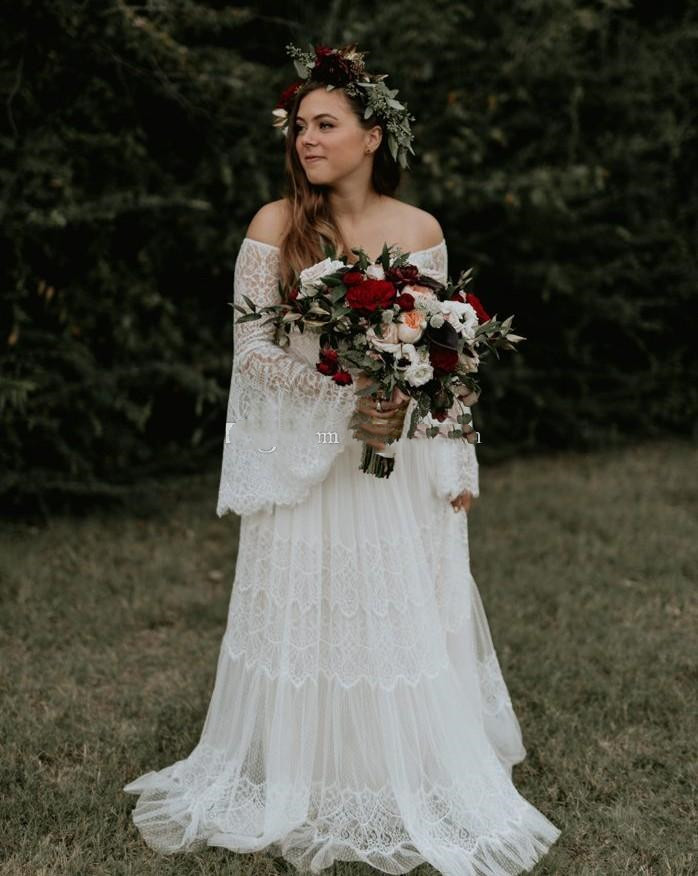 Bohemian Plus Size Lace Wedding Dresses With Long Sleeves Off The Shoulder Beach Bridal Gowns A Line Floor Length Boho Vestido D