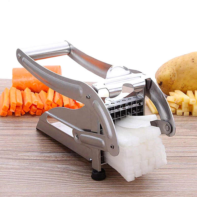สแตนเลสสตีล Chipper เครื่องตัดอาหารมันฝรั่งแครอทชิป Strip ตัดเครื่องมือครัว Gadget