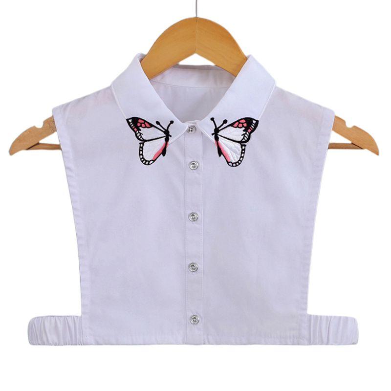 Womens Butterfly Embroidery False Fake Collar Lapel Detachable Half Shirt Blouse