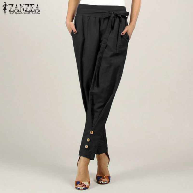 2019 Fashion ZANZEA Women's Pants High Waist Pocekts Trousers Female Casual Loose Pants With Belt Office Lady Solid Pantalones