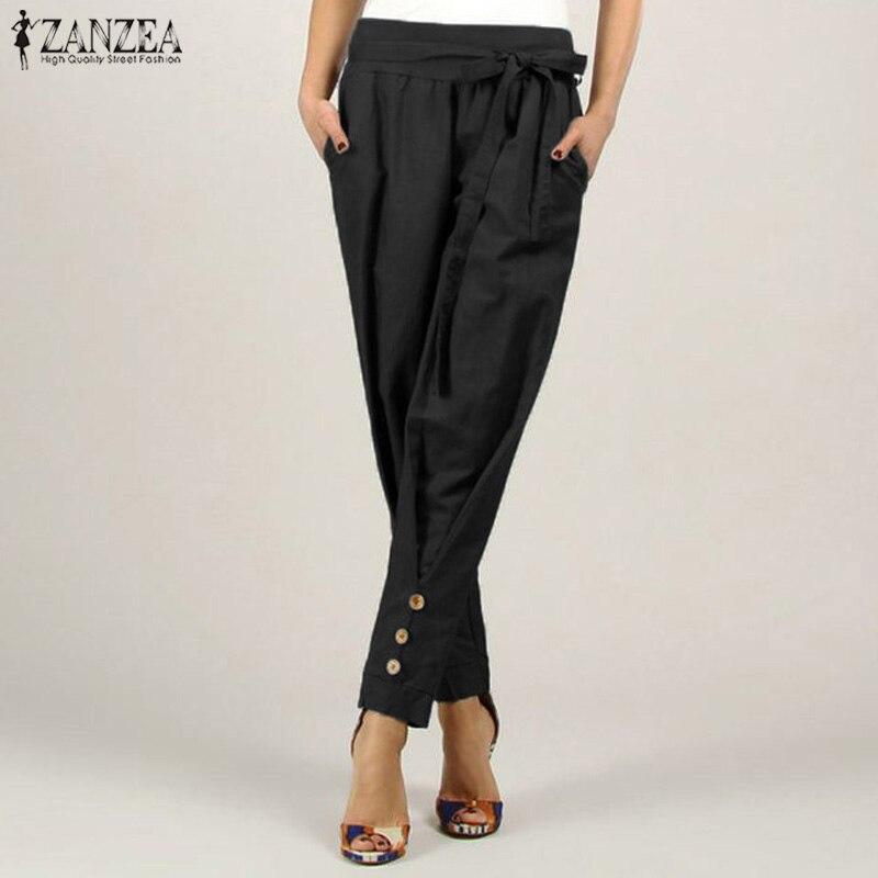 2020 Fashion ZANZEA Women's Pants High Waist Pocekts Trousers Female Casual Loose Pants With Belt Office Lady Solid Pantalones