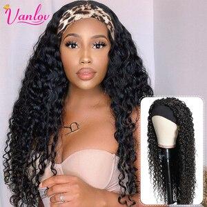 Vanlov Brazilian Water Wave Headband Wig Human Hair Glueless Full Machine Made Wigs Remy Human Hair Scarf Wig For Black Women