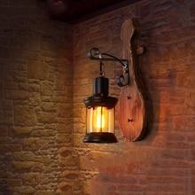 Vintage Wood Glass LED Wall Lamp Industrial Sconces Bedroom Light Fixture Bedside Restaurant Loft Home Decor Corridor Wall Light