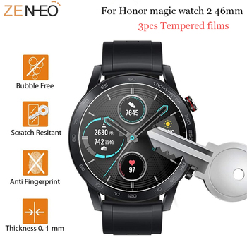 3pcs HD watch Tempered Glass Screen Protector For Huawei honor magic watch 2 46mm watch Accessories Protective Films 2pcs pack tempered glass screen protector watch screen protective films for samsung galaxy watch 42 46mm