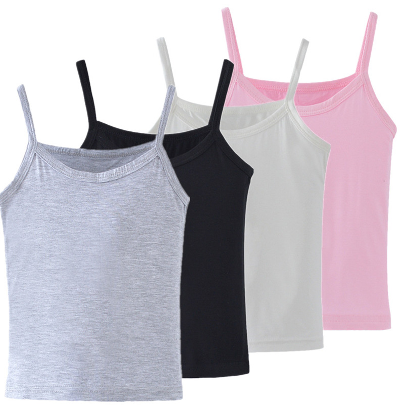 2019 New Kids Underwear Model Cotton Girls Tank Tops Candy Colored Girls Vest Children Singlet Tops Undershirt For 2-12 Years