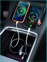 2021 Tesla Model3 / Y Tesla modeli 3 aksesuarları USB Hub yerleştirme İstasyonu hız Max Hub genişletici şarj bağlayıcı