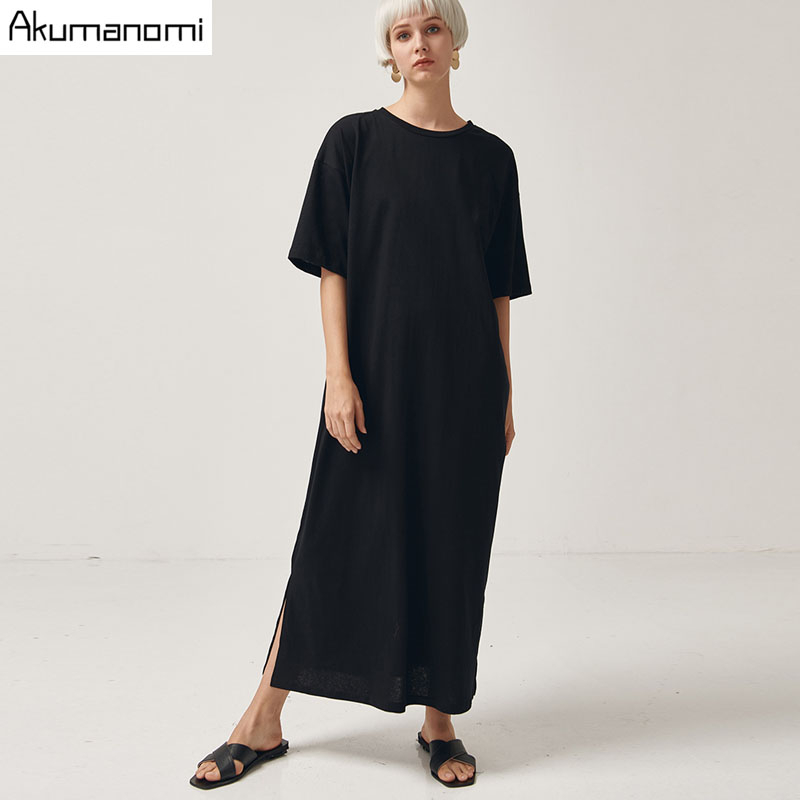 Black Cotton Long Dresses Ladies Plus Size Women Xxxl 4xl 5xl 6xl 7xl O-neck Short Sleeve Befree Maxi Casual Dress Cotton Tops