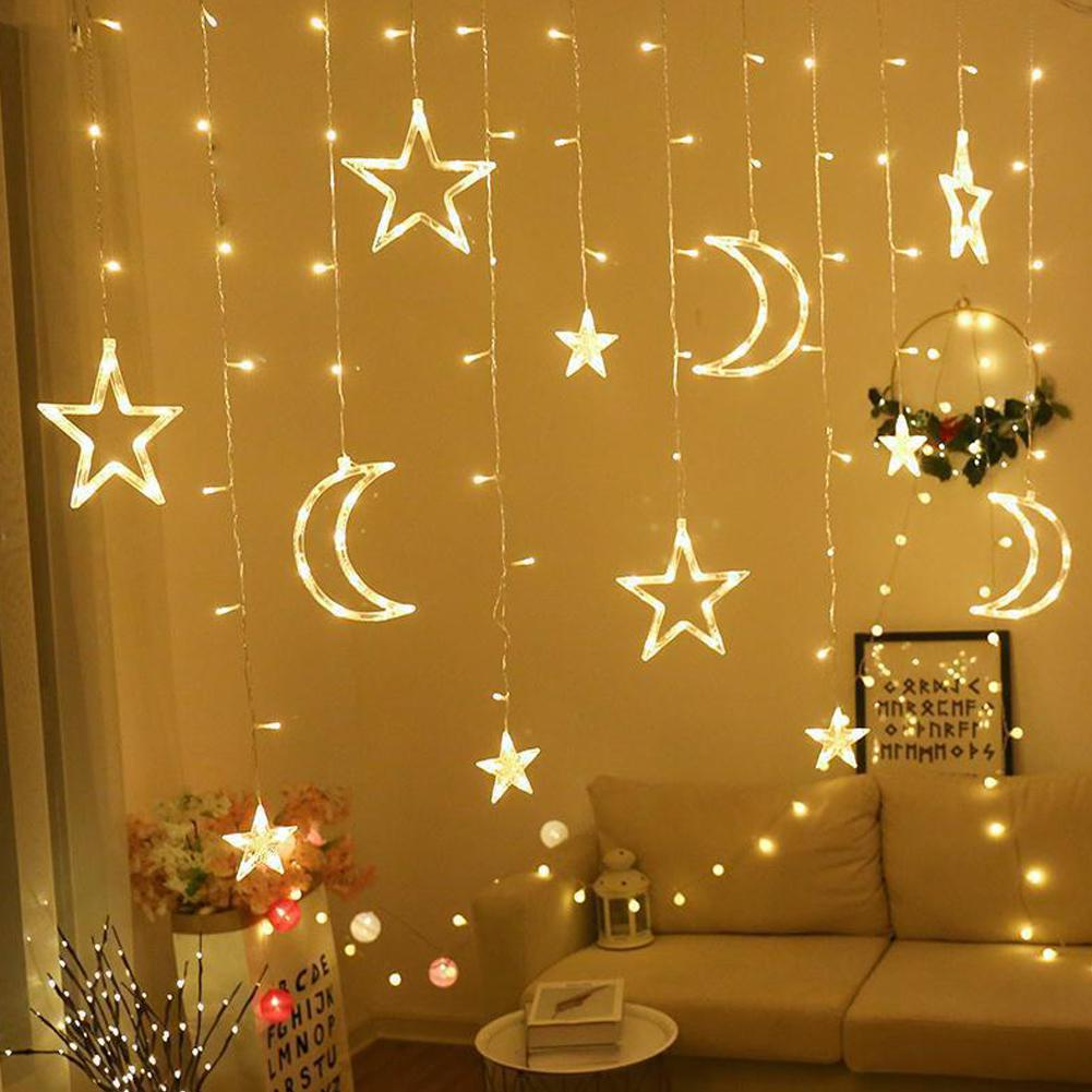 220V EU Plug 3.5M Led Moon Star Lamp Fairy Curtain Light Christmas Garland String Lights Lamp For New Years Wedding Decoration