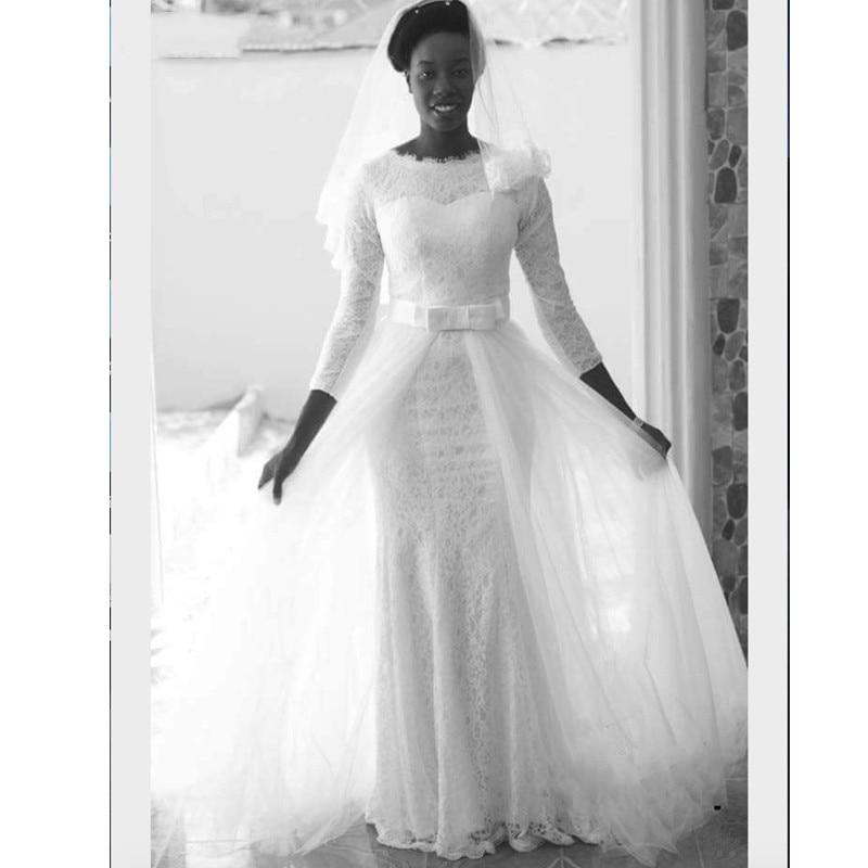 Африканские белые кружева Русалка мусульманское свадебное платье 2019 3/4 рукава съемные Шлейфы для свадебных платьев платье невесты robe de mariee