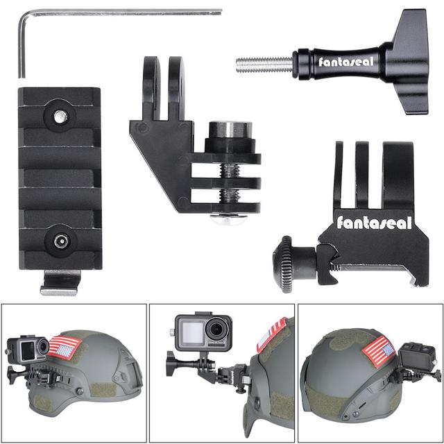 Picatinny Rail Mount Adapter Kit for GoPro Tactical Flashlights for Military Airsoft Paintball Helmet Side Rail Plug Gear