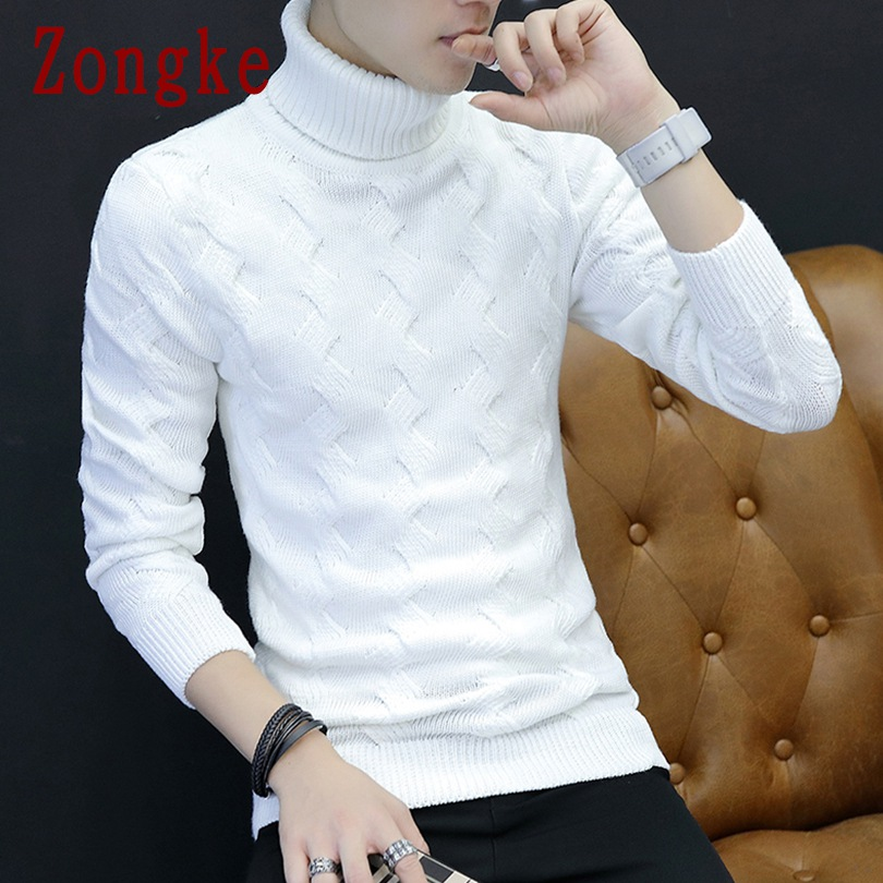 Zongke Thick Turtleneck Men Sweater Turtle Neck Men Pullover Sweater Men Coat XXL 2019 Autumn Winter Man Sweaters Pull Clothes