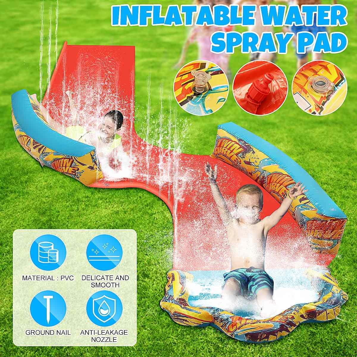 Inflatable Lawn Water Slide Double People Water Splash Slide Kids Toys Water Slide Outdoor Garden Swimming Pool Inflatable Slide